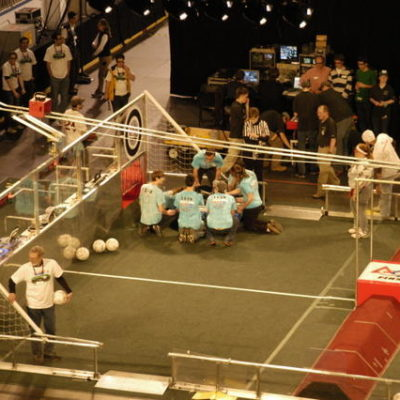 Checking the robot out just before semi-finals.