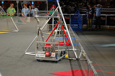 Our robot in a practice round.
