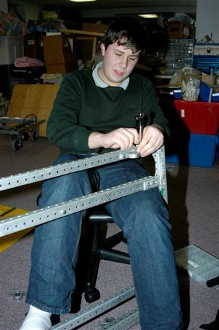 David F. attaching pillow blocks to the frame.