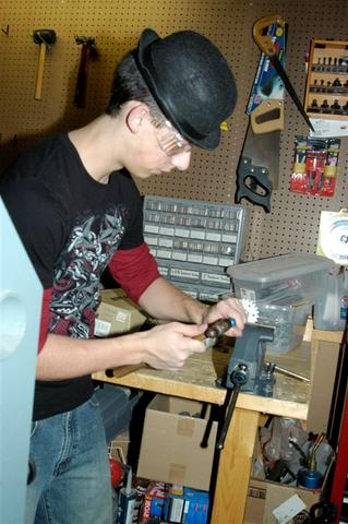 Tim P. working on the sprockets for the drive base.