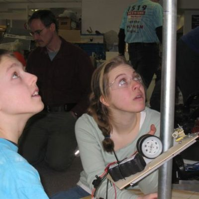Kaileb O. and Amelia J. testing the minibot.