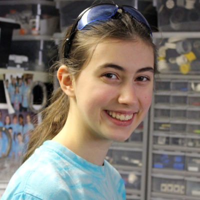 Hi, my name is Elizabeth. This is my second year being on Mechanical Mayhem.  I am currently working on the electronics and the drive base. When I am not at FRC or doing school, I dance or play my violin.
