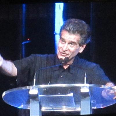 Dean Kamen giving a speech during the Closing Celebration