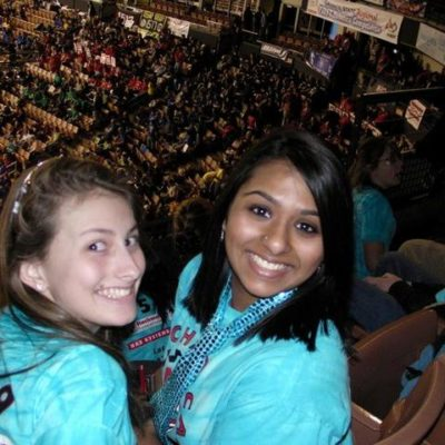 Melissa G., and Meera N. excited about the competition.