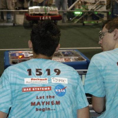 Tim P. and Benji P. driving the robot.