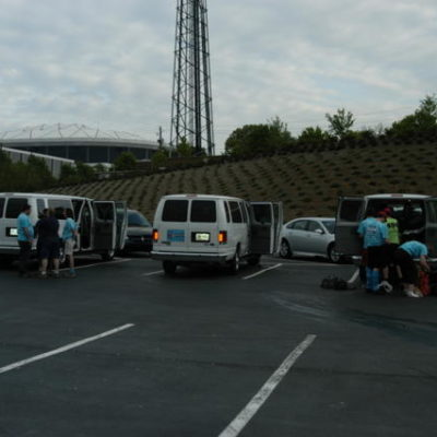 Packing up our 3 rented 15 passenger vans to head back home.