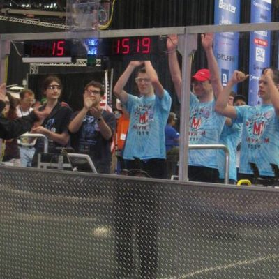 The drive team cheering as they are introduced.