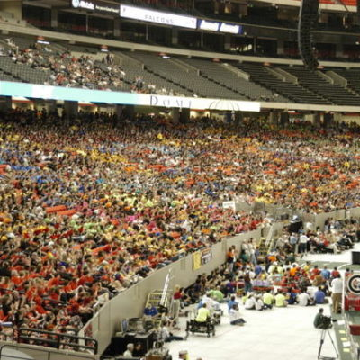 The Georga dome packed with team for opening ceremonies.