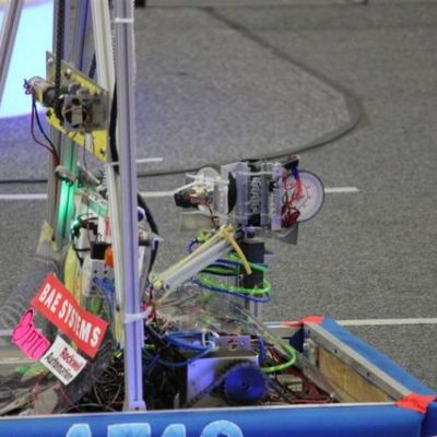 Roo (the minbot) perched on the deployment mechanism.