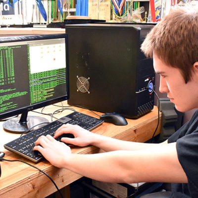 Gabriel doing some programming