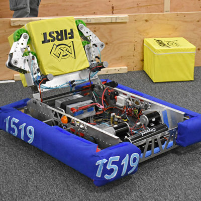The competition robot being tested on the practice field
